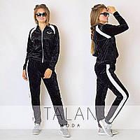 Женский спортивный бархатный костюм: кофта на молнии и штаны батал и норма