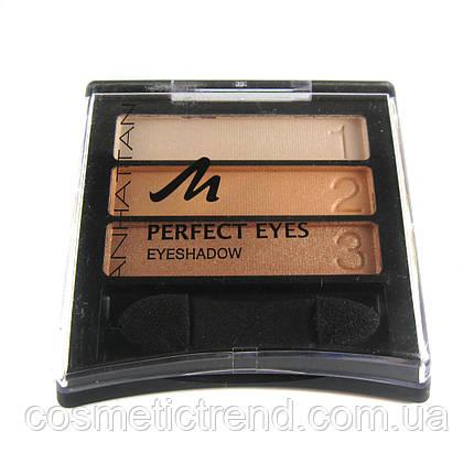 Тіні для повік потрійні Manhattan Perfect Eyes 12w-22f-92t bronze effect (Німеччина) (розпродаж), фото 2