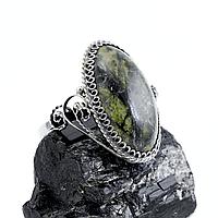 Змеевик (Серпентин), нейзильбер филигрань, кольцо, 1053КЦЗ