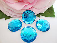 Камень клеевой круглой формы, d 20 мм, цвет голубой, 1 шт