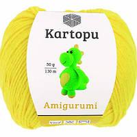 Пряжа Kartopu AMİGURUMİ лимон №330 хлопок для ручного вязания