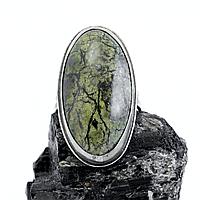 Змеевик (Серпентин), нейзильбер, кольцо, 1054КЦЗ