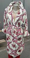 Женский длинный теплый махровый халат в расцветке