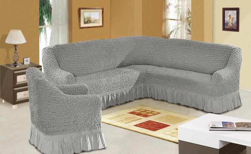 Чехол на угловой диван + кресло DO&CO, Турция. Серый
