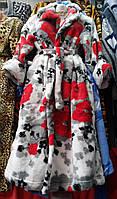 Женский теплый махровый халат в цветочный принт