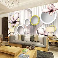 "3D фотообои ""Орхидеи с кругами"""