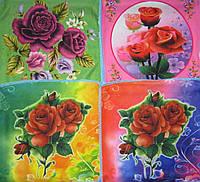 Салфетки кухонные микрофибра с розами 25х25