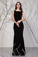 Облегающее черное платье с гипюром на спинке Ирен