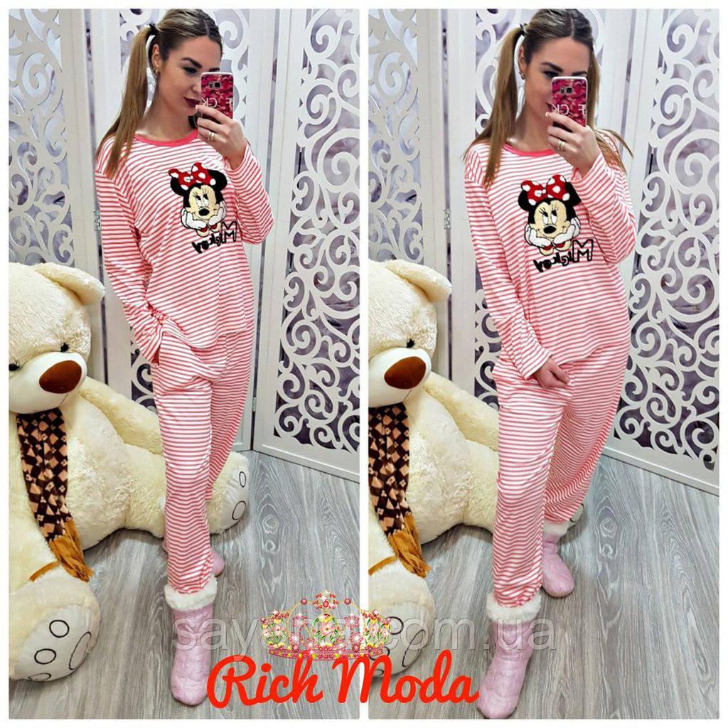 Купить Женскую домашнюю костюм-пижаму с аппликацией faa2dcce24f99