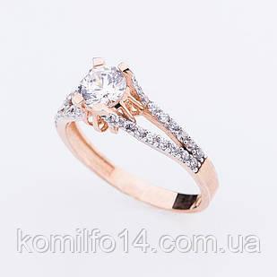 Помолвочное золотое кольцо (фианиты)