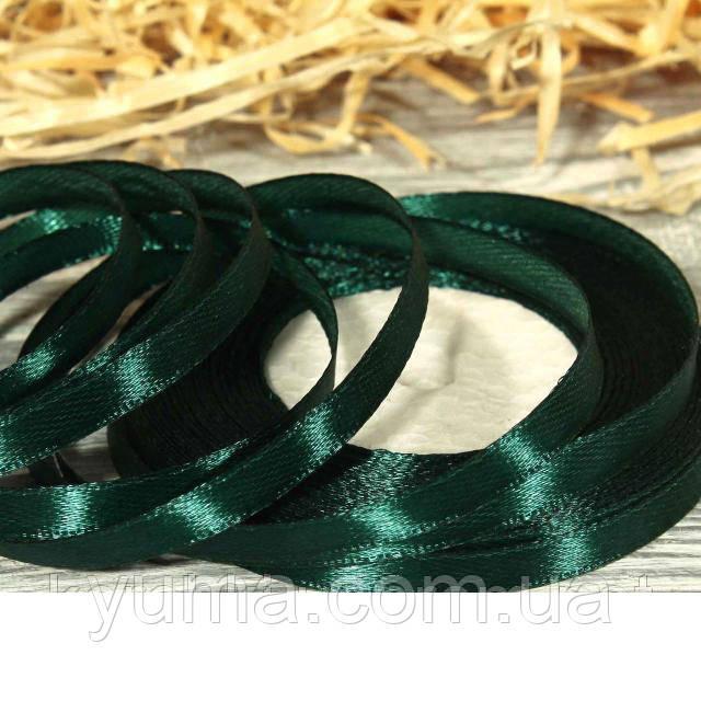 Лента атласная оптом 0,6 см т. зеленый