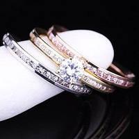 Золотое женское тройное кольцо (красное,белое,желтое золото,фианиты)
