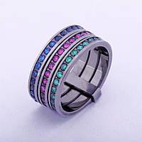 Золотое тройное кольцо с цветными фианитами