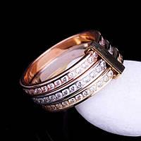 Золотое тройное кольцо з фианитами