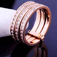 Тройное женское кольцо из красного золота с фианитами