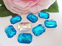 Камень клеевой, прямоугольный, 13х18 мм, цвет голубой, 10 шт