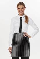 Фартук официанта на 2 кармана Dickies Chef DC57, цвет: черный в белую полоску, одежда для официантов