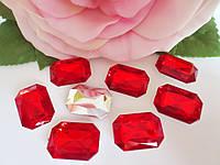 Камень клеевой, прямоугольный, 13х18 мм, цвет красный, 10 шт
