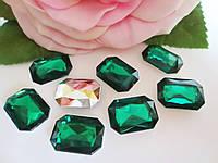 Камень клеевой, прямоугольный, 13х18 мм, цвет зеленый, 10 шт