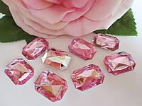 Камень клеевой, прямоугольный, 13х18 мм, цвет светло-розовый, 10 шт