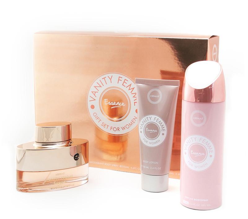 Женский парфюмированный набор Armaf VANITY ESSENCE (edp 100 ml + b/s 200 ml + body lotion 200 ml)