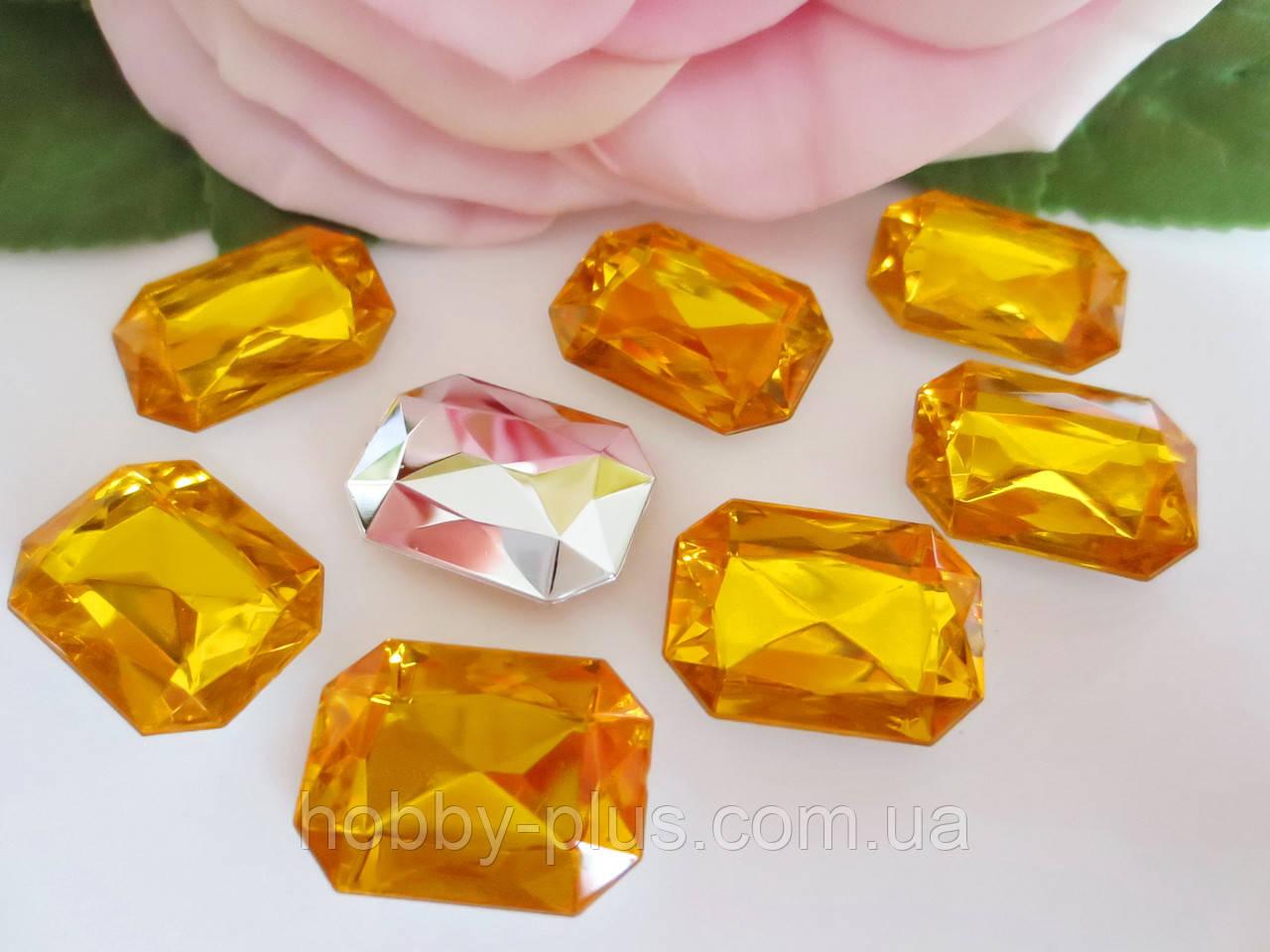Камень клеевой, прямоугольный, 13х18 мм, цвет желтый, 10 шт
