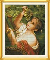 Девушка с виноградом Набор для вышивки крестом