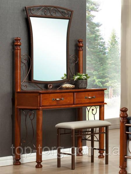 Баварія - будуарний (туалетний) столик+дзеркало+пуф. Дерево, метал, кування. Темний горіх