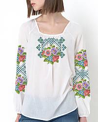 Заготівля вишиванки жіночої сорочки та блузи для вишивки бісером Бисерок «Польові Квіти» (Б-06)