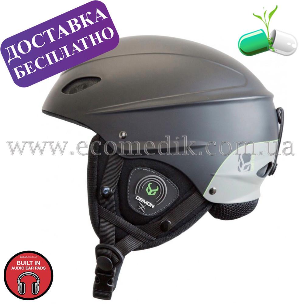 Музыкальный шлем для сноуборда и лыж с наушниками коллекции 2019-2020 Demon phantom helmet audio черного цвета