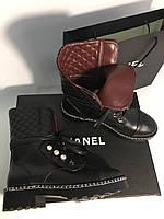 Модные женские кожаные ботинки Chanel (реплика), фото 1