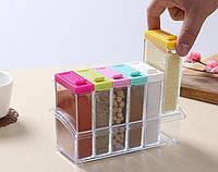 Кухонная подставка с емкостями для специй Seasoning six piece set (Набор спецовниц)