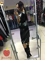 Женский стильный кожаный костюм с кружевом черного цвета. Ткань: эко-кожа. Размер:42-44,46-48,50-52,54-56.