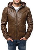 Мужская коричневая кожаная куртка эко кожа