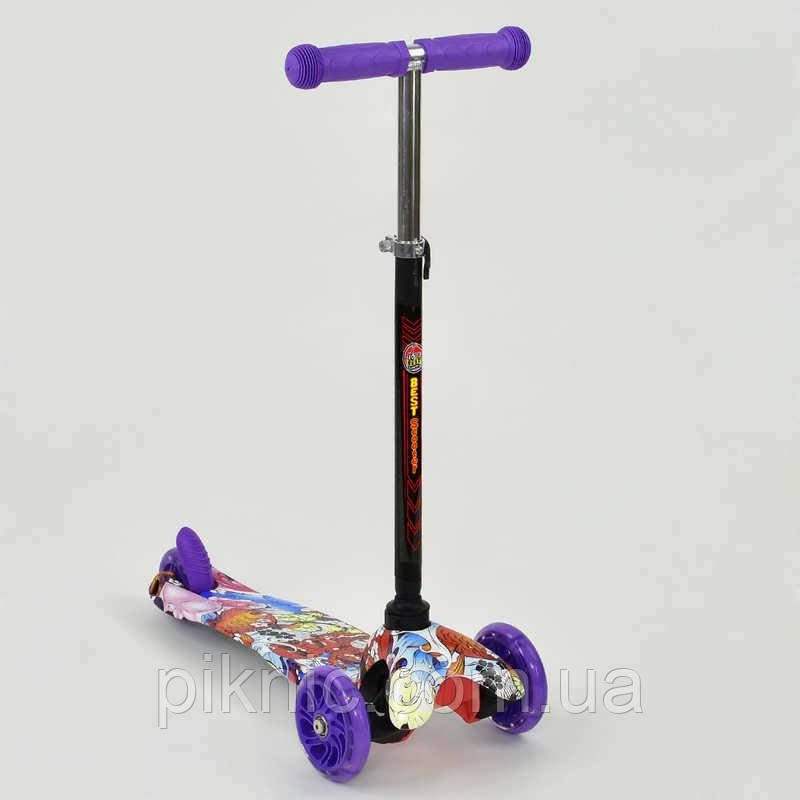 Самокат MINI для девочки 2-5 лет, 3 колеса свет, PU. Детский транспорт. Фиолетовый
