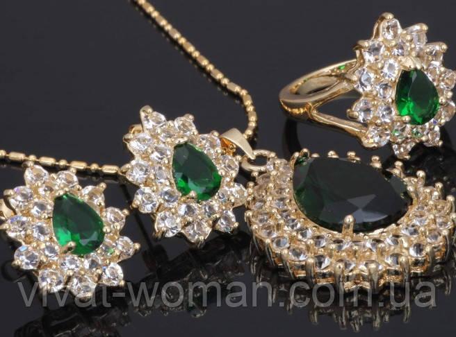 a95d49edf24f Ювелирный набор  кольцо, серьги, кулон и цепочка, покрытие золотом 18К,  куб. цирконий
