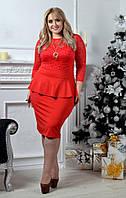 Женское облегающие платье с гипюровым верхом. Ткань: гипюр, дайвинг. Размер: 50-52,52-54.