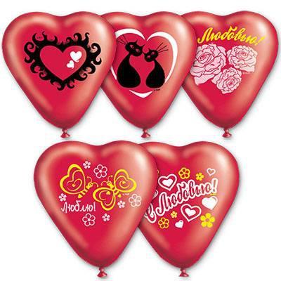 """Воздушные шарики сердца """"С любовью"""" микс рисунков 10"""" (25 см)"""