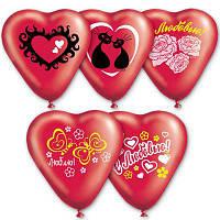 """Воздушные шарики сердца """"С любовью"""" микс рисунков 10"""" (25 см), фото 1"""
