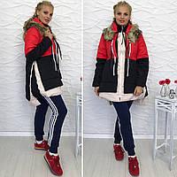 Женская трехцветная куртка трансформер с мехом большого размера. Ткань: плащевка. Размер: 48-50, 52-54.