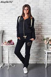 Стильный женский спортивный костюм черного цвета, курточка отделка стразами, баталл. Размер 50-54. NM 192