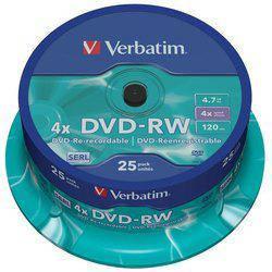 Диск Verbatim DVD-RW 4.7GB 4x, Cake 25, Scratch Resitant