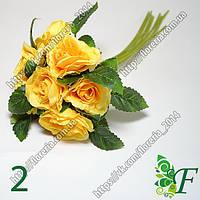 Роза с листиком желтая за 1шт
