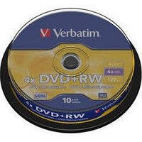 Verbatim Диск DVD+RW 4.7GB 4x, Cake 10, Scratch Resitant-43488