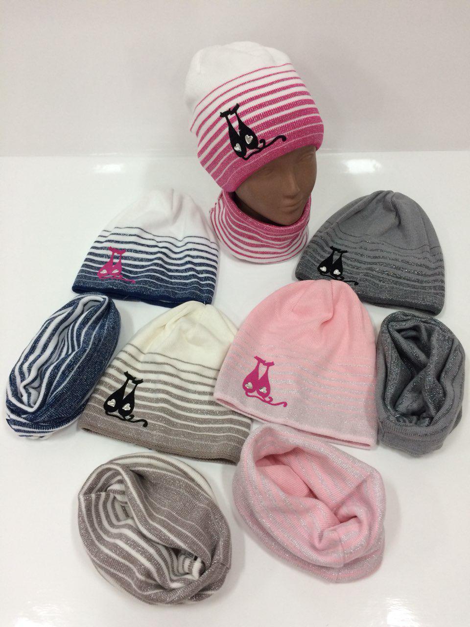 Детские вязаные шапки только оптом со снудом для девочек 8a280ddd13f3b