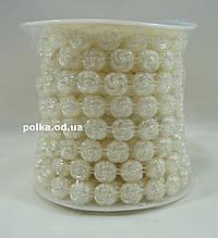 Полубусины на нитке в форме розы,перламутровые (1 уп-9м)