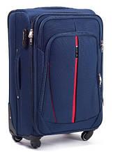 Красивый тканевый большой чемодан на четырех колесах 96 л. Wings Vt00043, синий