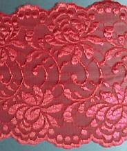 Стрейчевое кружево, ширина 18см, красный