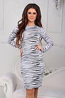 Красивое приталенное повседневное черно-белое платье батал и норма