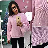 Трендовый женский свитер с жемчугом